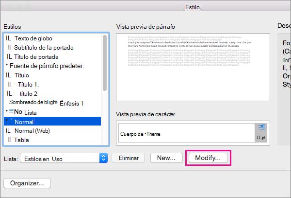 Haga clic en Modificar para realizar cambios en el estilo seleccionado.
