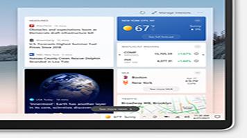 Captura de pantalla de noticias e intereses abiertos en la barra de tareas