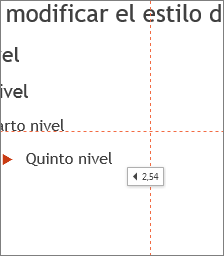Una etiqueta indica la distancia al centro de la diapositiva