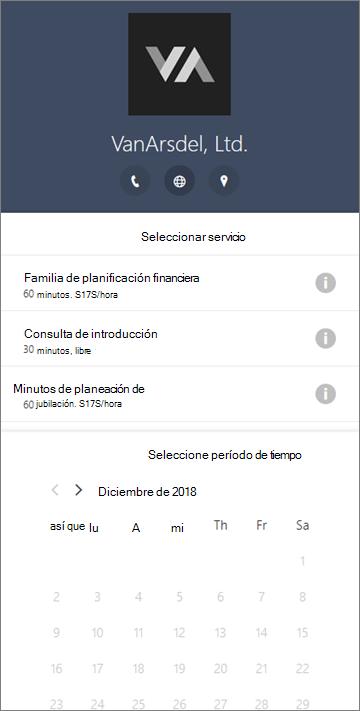 Un formulario de reservas de ejemplo para una empresa de servicios financieros