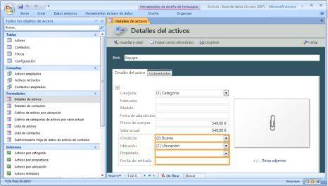 Modificar la plantilla de base de datos de activos
