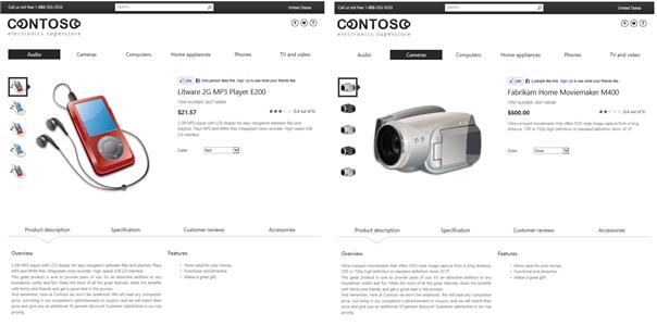 Ejemplo de página de elementos de catálogo