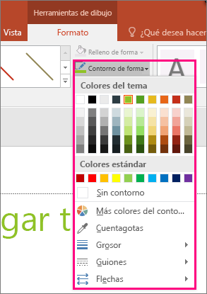 Muestra las opciones de color de línea en Office