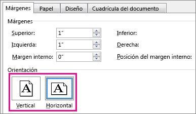 Botones Vertical y Horizontal del cuadro Configurar página.