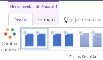 El botón Cambiar colores en la pestaña Diseño de herramientas de SmartArt