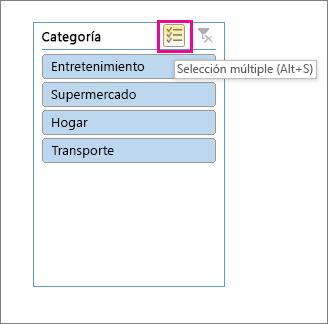 Opciones de segmentación con el botón de selección múltiple resaltado