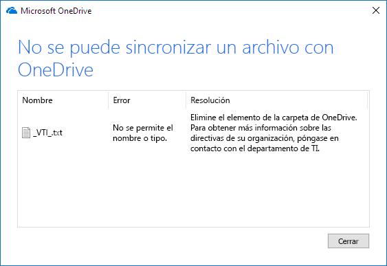 El archivo de OneDrive no se puede sincronizar