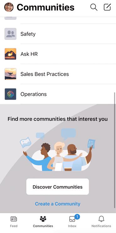 Captura de pantalla que muestra el descubrimiento de comunidades de Yammer en la aplicación móvil