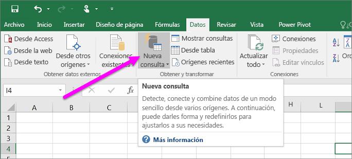 Nueva consulta en Excel 2016