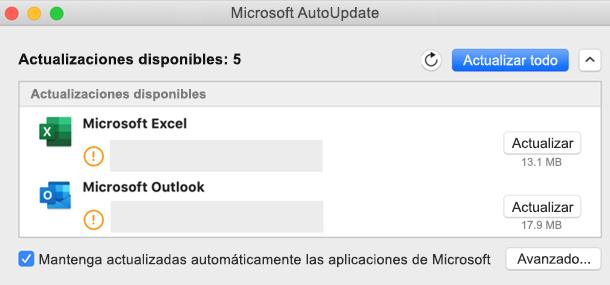 Imagen del panel de control de Microsoft AutoUpdate con información sobre las actualizaciones.