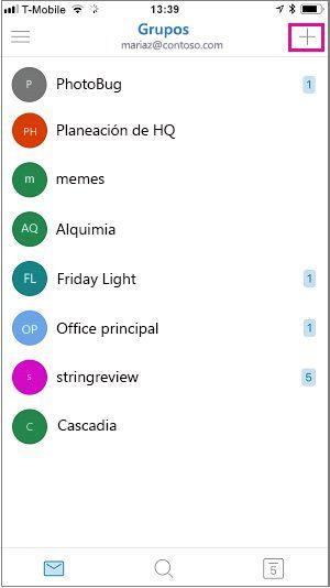 Pulse el símbolo más en la esquina superior derecha de la pantalla para crear un grupo.
