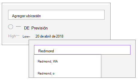 Agregar una ubicación al elemento Web de Meteorología