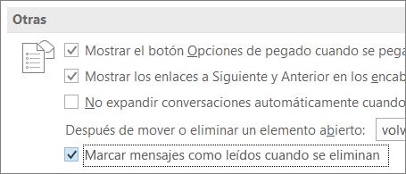 """Casilla """"Marcar mensajes como leídos cuando se eliminen"""" en el cuadro de diálogo Opciones de Outlook"""