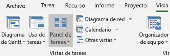 Panel de tareas en la cinta de opciones de vista