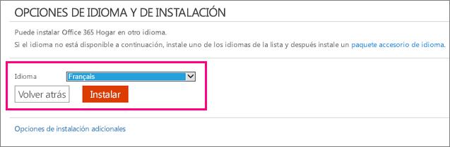 Muestra la pantalla Instalar idioma en la administración de cuentas de Office 365