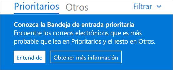 Imagen del aspecto de la Bandeja de entrada Prioritarios cuando un usuario abre por primera vez Outlook en la web.