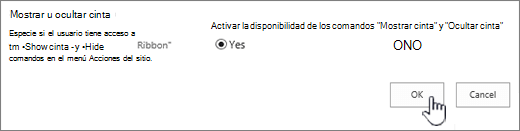 Mostrar la opción ocultar cinta, con la opción Aceptar seleccionada