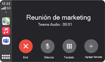 Imagen que muestra lo que parece una reunión Teams con Apple CarPlay.