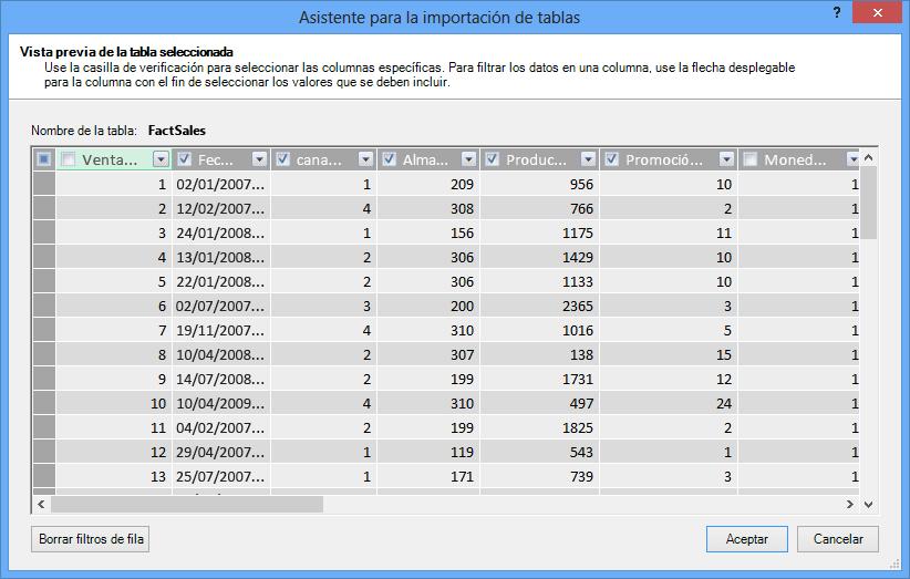 Panel de vista previa en el Asistente para la importación de tablas