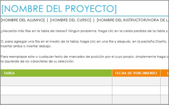 Antigua plantilla de Lista de tareas del proyecto con una fuente mínima de 8,5 puntos.