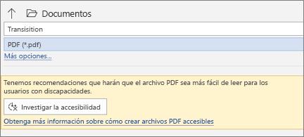 Cuadro de diálogo Guardar como PDF con un cuadro de mensaje amarillo en el que se le invita a comprobar la accesibilidad del archivo PDF antes de guardar