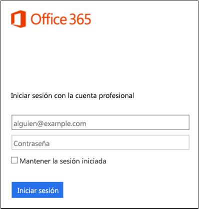 Pantalla de inicio de sesión de Office 365