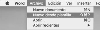 En el menú archivo, haga clic en nuevo desde plantilla.