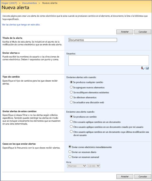 Página de opciones de alerta de SharePoint 2007