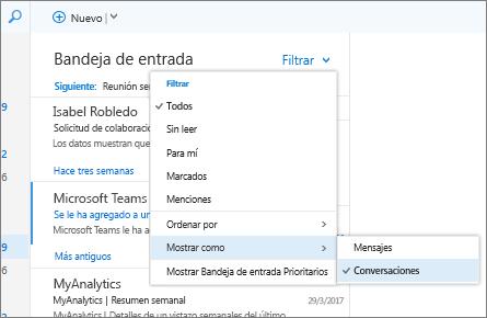 Captura de pantalla de la bandeja de entrada que muestra la opción Filtro > Mostrar como > Conversaciones seleccionada.