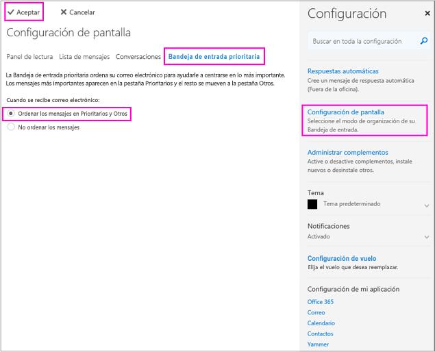 En la página Configuración de visualización, puede activar o desactivar la Bandeja de entrada prioritaria
