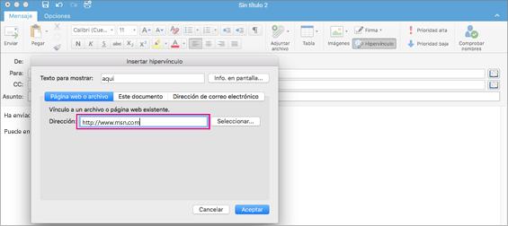 Cuadro de diálogo hipervínculo en Outlook para Mac