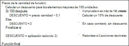 Ejemplo de una función VBA con comentarios