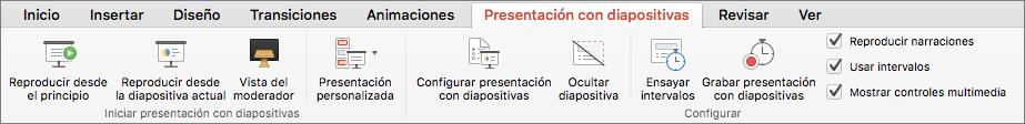 Pestaña Presentación con diapositivas