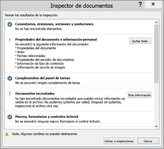 Se muestra el cuadro de diálogo Inspector de documento con la opción Quitar todo