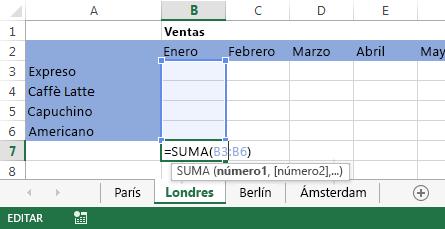 La fórmula también está en la hoja de cálculo de Londres.