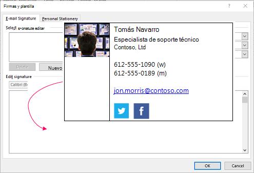 Pegar el bloque de firma personalizada en el cuadro de diálogo de diseños de fondo y cuadro de texto de firma de correo electrónico de las firmas