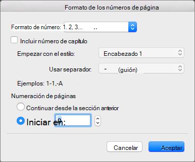 Elija un estilo de numeración y el número inicial en Formato del número de página.