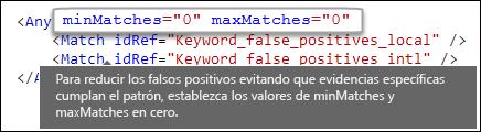 Formato XML que muestra el atributo maxMatches de valor cero