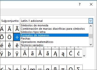 Seleccione Formatos de números en el cuadro de diálogo Subconjunto para mostrar fracciones y otros símbolos matemáticos