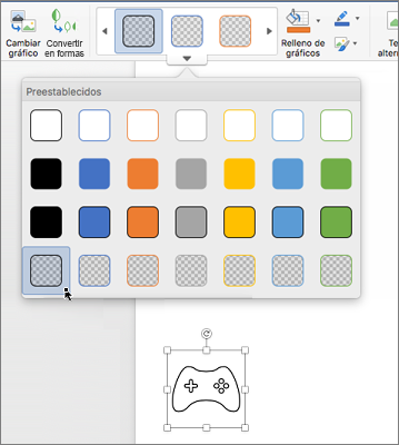 Edición del estilo gráfico de un icono