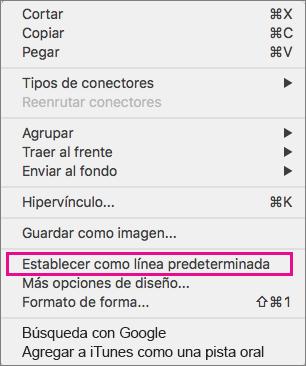 Opciones de menú después hacer Control+clic en una línea