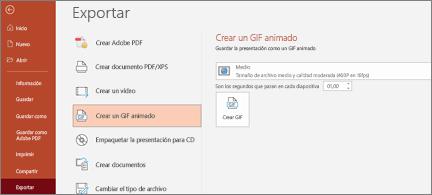 Página Archivo > Exportar con la opción Crear un GIF animado resaltada