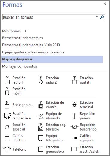Captura de pantalla del panel Formas de un diagrama de Ingeniería eléctrica.