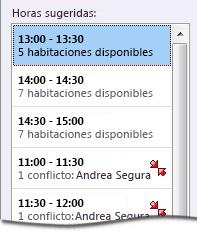 Panel Horas sugeridas para una convocatoria de reunión