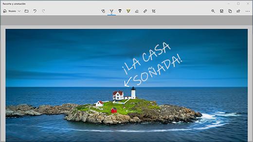 La aplicación Recorte y anotación con una anotación en una imagen genérica.