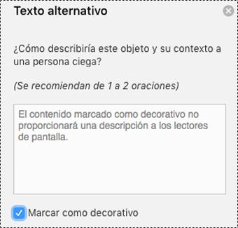 Casilla Marcar como decorativo seleccionada en el panel de texto alternativo de Word para Mac.