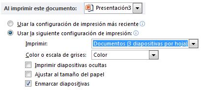 Establecer la configuración de impresión predeterminados para una presentación específica