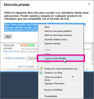 google calendar - copiar el vínculo privado