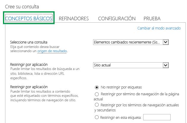 La ficha BÁSICO al configurar la consulta en un elemento web de búsqueda de contenido