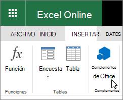 """Captura de pantalla de primer plano del grupo complementos en la ficha Insertar de la cinta de opciones con el cursor apuntando a """"Complementos de Office""""."""